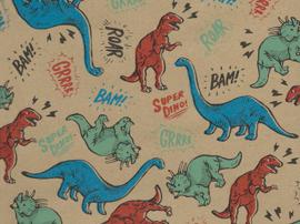 Kids Kraft Inpakpapier dino