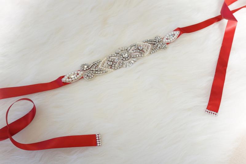 Red pearl stones belt 2