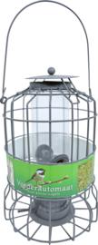 Voederautomaat metaal grijs voor kleine vogels