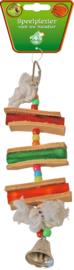 Houten ladder met leer