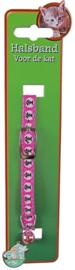 Halsband cartoon roze met vissengraat