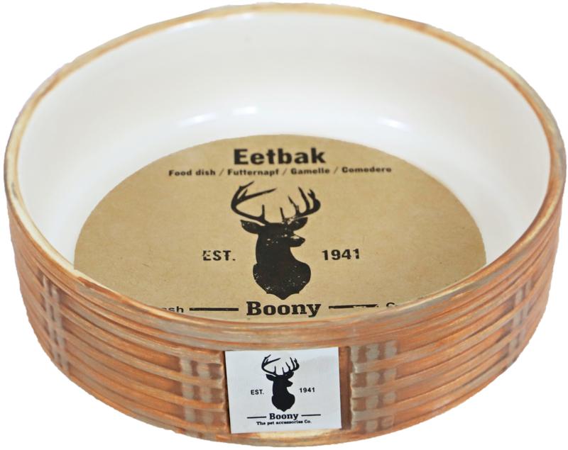 Eetbak steen Wicker bruin 16cm