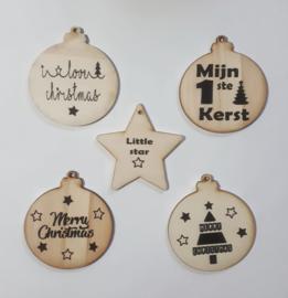 Set van 5 houten kerstballen
