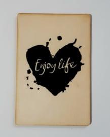 Kaart op hout: Enjoy life (13x18)