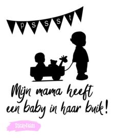 Strijkapplicatie - Pssst mijn mama heeft een baby in haar buik!