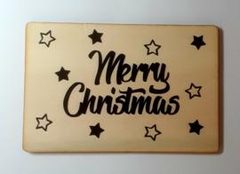 Houten kaart Merry Christmas