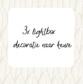 Set van 3 verschillende lightbox decoraties