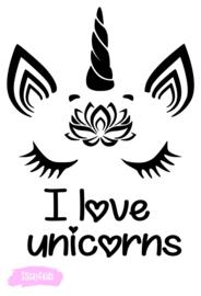 T-shirt I love unicorns