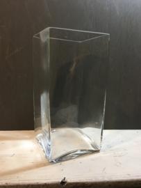 Glazen vaas/windlicht met gravure, 28cm