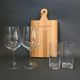 Borrelplank + wijnglazen + longdrinkglazen