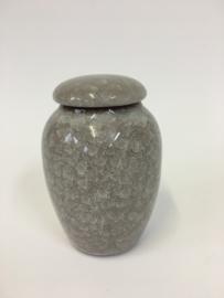 Urn van warm grijs keramiek 12cm