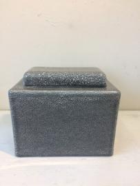 Gemeleerde urn met opdruk, 21x18x12cm