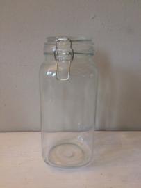 Glazen voorraadpot met opdurk, vierkant 26cm