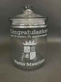 Glazen voorraadpot met opdruk, 21cm (prijs excl. gravure)