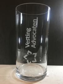 Glazen vazen met gegraveerde opdruk, 30cm