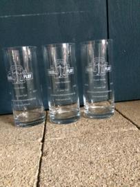 Glazen vaas met gegraveerde opdruk, 28cm
