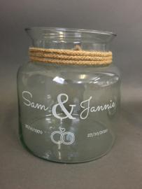 Glazen vaas met gegraveerde opdruk, 19cm (prijs excl. gravure)