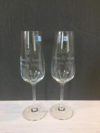 Champagneglazen set van twee