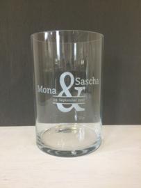 Glazen vaas/windlicht met opdruk, 35cm