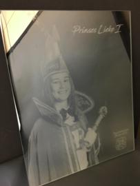 Spiegels met gravure prins(es)/boerebruiloft carnaval