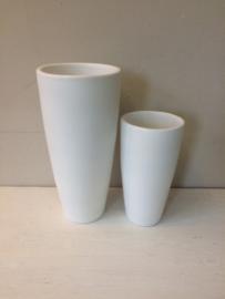 Witte vaas met opdruk, 46cm