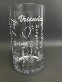 Glazen vazen met gegraveerde opdruk, 25cm (prijs excl. gravure)
