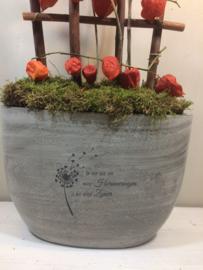 Grijze urn met opdruk, 23cm