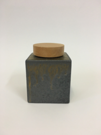 Urn antraciet-koperkleur met hout met opdruk 9cm