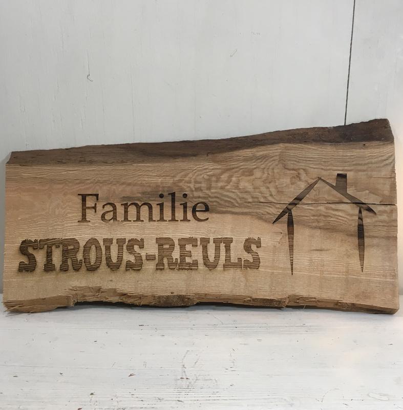 Naambord hout 20x40cm