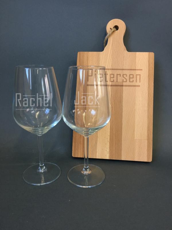 Borrelplank + wijnglazen