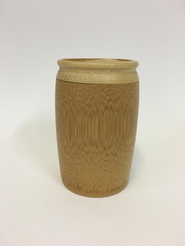 Urn van hout met gravure 14cm