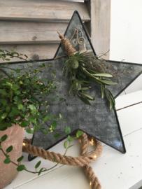 Staande zinken ster maat L