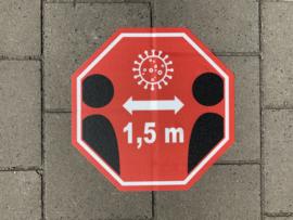 Straatstickers Houd 1,5 meter afstand, 45 x 45 cm