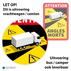 Simbol - Magneetsticker Dode Hoek Frankrijk Vrachtwagen - Camion - Attention Angles Morts - Duurzame Kwaliteit - Formaat 17 x 25 cm
