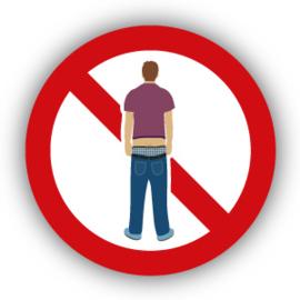 Stickers Verboden met afgezakte broek