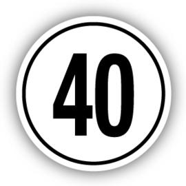 Tempostickers Maximaal 40 km per uur