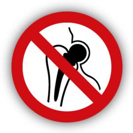 Stickers Verboden voor personen met metalen implantaat (P014)