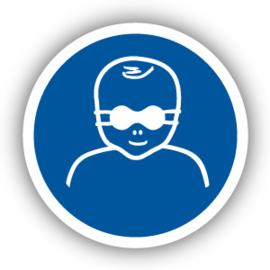 Stickers Oogbescherming voor kinderen verplicht (M025)