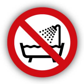 Stickers Verboden om deze producten onder de douche of in bad te gebruiken (P026)