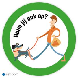 Simbol - Stickers Hondenpoep Opruimen - Ruim jij ook op? - Duurzame Kwaliteit
