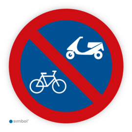 Straatstickers Parkeren verboden voor fietsen en bromfietsen/scooters, ø 20 cm.