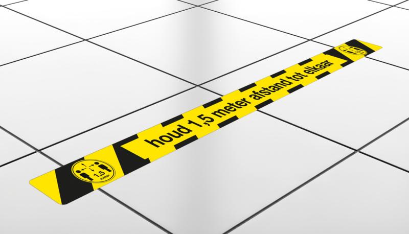 Vloerstickers Houd 1,5 meter afstand tot elkaar, formaat 8 x 120 cm.