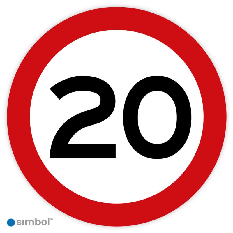 Simbol - Stickers 20 km - Maximaal 20 km/u - Duurzame Kwaliteit
