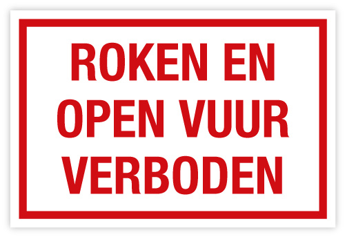 Bord Roken en open vuur verboden
