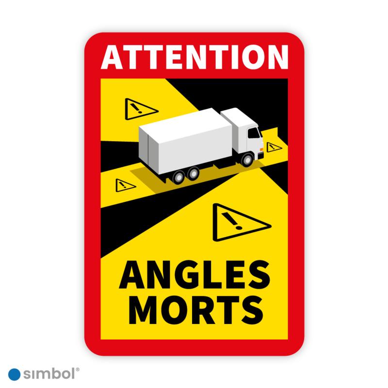 Simbol - Sticker Dode Hoek Frankrijk Vrachtwagen - Camion - Attention Angles Morts - Duurzame Kwaliteit - Formaat 17 x 25 cm