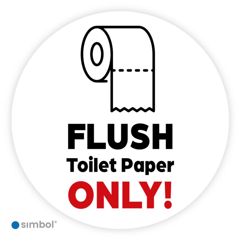 Stickers Flush toilet paper only,  ø 10 cm
