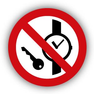 Stickers Kleine metalen voorwerpen verboden (P008)