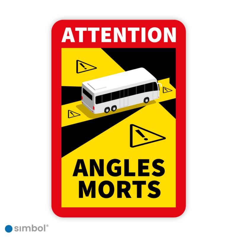 Simbol - Sticker Dode Hoek Frankrijk Bus - Camper - Attention Angles Morts - Duurzame Kwaliteit - Formaat 17 x 25 cm