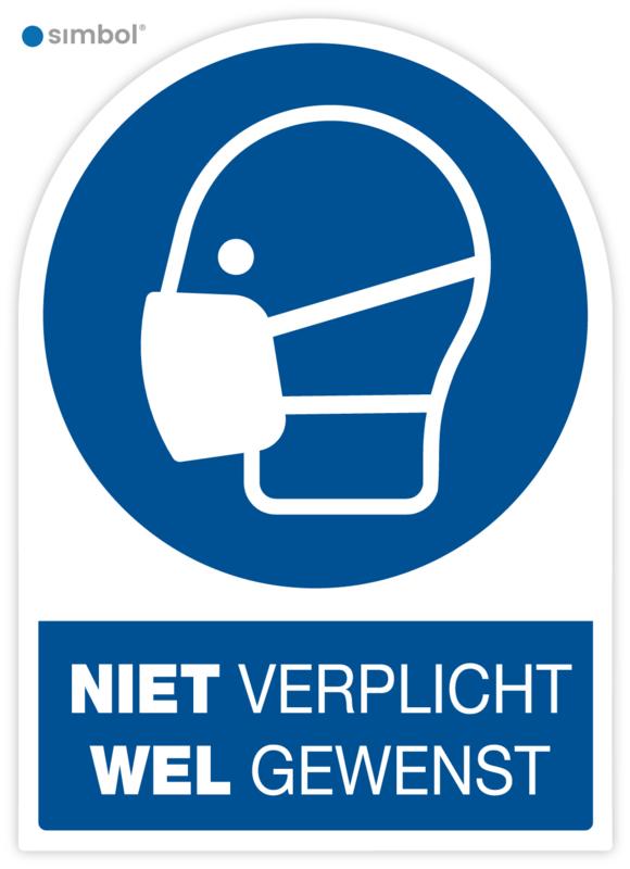 Stickers Gebruik Mondkapje Niet verplicht, Wel gewenst