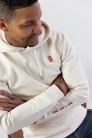 Hoodie Unisex – Raw Off White 'Rebel with a cause' tekst - christelijke kleding